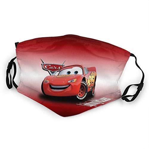 KINGAM Cars Lightning Mcqueen - Máscara antipolvo para niños, reutilizable, protección lavable, transpirable, anti humo, polución de humo, moto, deportiva, 1 unidad, color negro