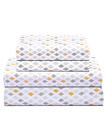 Feather & Stitch 300 Thread Count 100% Cotton Sheet Set, Soft Percale Weave,Queen Sheets, Deep Pockets,Hotel Collection,Luxury Bedding Melang01, Queen