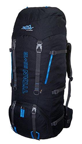 Tashev Outdoors Titan Trekkingrucksack Wanderrucksack Damen Herren Backpacker Rucksack groß 80L, in vielen Farben (Hergestellt in EU) (Schwarz & Blau)