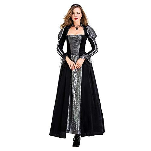 RISTHY Vestidos de Fiesta Gótico Mujeres Vestidos Medieval Vestidos Cosplay Manga Larga Retro Cuello Cuadrado Renacentista Princesa de Las Mujeres Vestidos Largos para Mujeres