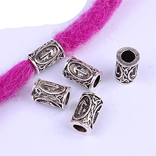 10 Uds 24 diseños de runas vikingas, cuentas sueltas, cuentas espaciadoras para barbas o runa para el cabello, runa, joyería DIY-8705, 8x13mm, agujero de 5mm