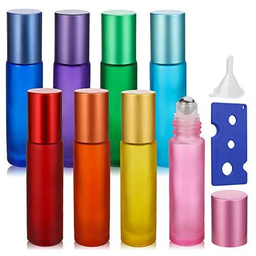 Auidy_6TXD 8 Stück Ätherische Öle Roller Flaschen, Multicolor Glasflaschen Edelstahl Roller Bällen 10ml für Parfüm Massage Ätherisches Öl
