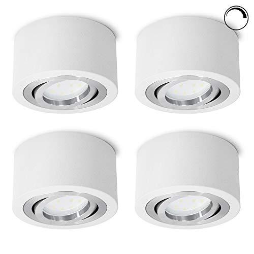 4 Stück SSC-LUXon® LED Deckenspot Aufbau flach & dimmbar - LED Modul 5W neutralweiß 230V - Aufputz Spot weiß schwenkbar Ø 90mm