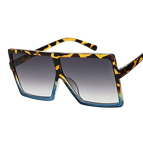 Gafas de Sol Sombras de Gran tamaño Mujeres Gafas de Sol Negro Moda Cuadrada Gafas Grandes Marco Vintage Retro Gafas Mujer Unisex Gafas de Sol de Moda Vintage (Lenses Color : Leopard Blue)