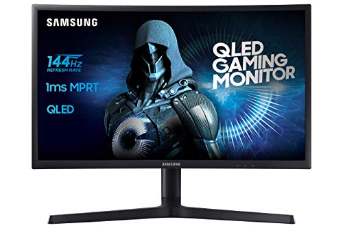 Samsung Monitor C24FG73 Monitor da Gaming Curvo VA da 24' Full HD, QLED, 1920 x 1080, 144 Hz, 1 ms, FreeSync, DP, HDMI, 16.7M di Colori, sRGB 125%, Regolabile in altezza, Pivot, Nero