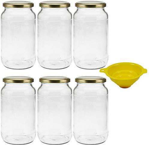 mikken 6 x Einmachglas 1 Liter mit Schraubverschluss Gold, inkl. Trichter
