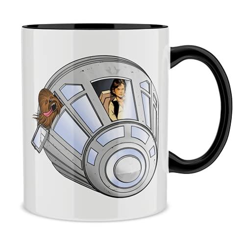 OKIWOKI Star Wars Lustiges Tasse mit farbigem Henkel und Innenleben (Schwarz) - Han Solo und Chewbacca (Star Wars Parodie signiert Hochwertiges Tasse - Ref : 635)