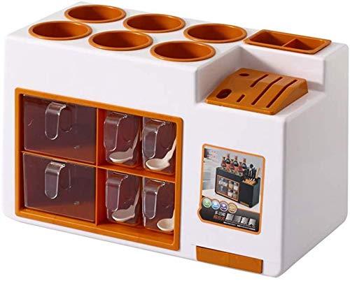 Haushalts-Lagerregal Multifunktionale Gewürz-Aufbewahrungsbox/Kunststoff-Rack/Cutter Gewürzflasche Jar Gewürz-Lagerregal/Large Capacity Supplies 46 * 22 * 28.7Cm Separator, braun, a