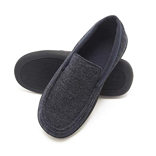 Hanes Men's Slippers House Shoes Moccasin Comfort Memory Foam Indoor Outdoor Fresh IQ (XXX Large (14-15), Navy/Blue)