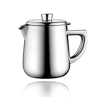 Minos Stunning Classy Hand-Polished Stainless Steel Teapot With Lid and Heatproof Hollow Handle Design - 34 fl oz - Suitable for Gas and Electric Stovetops