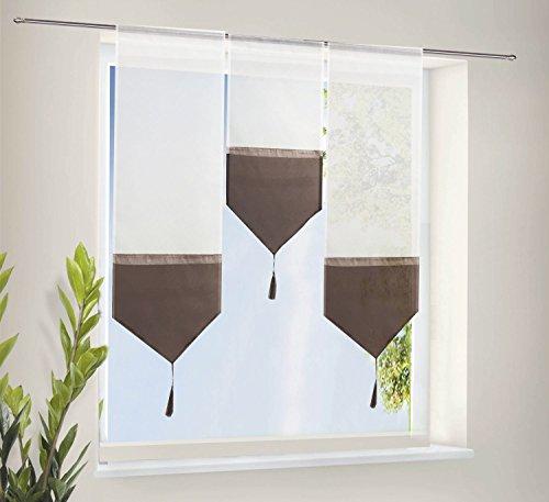 Scheiben Gardinen Set bestehend aus 3 transparenten Scheibengardinen mit Tunneldurchzug und Beschwerungsstab Braun, 20112