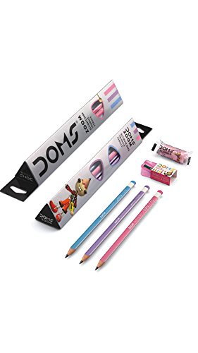 Doms Zoom Ultimate Dark Triangle Pencils (10pcs) with Free Eraser, Sharpener and 15cms Ruler