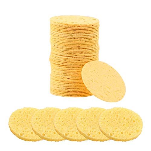Compressed Facial Sponges Natural Cellulose Odorless Face sponge Reusable Professional Face Cleaning Sponge Pads for Facial Cleansing Exfoliating,Mask,Makeup Removal, 50 Pcs Yellow One size