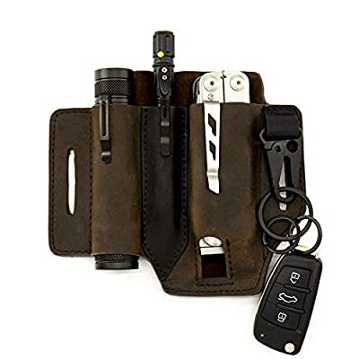 Gentlestache Multitool Sheath for Belt, Leather EDC Pocket Organizer for Men, Leatherman Sheath with Pen Holder, Key Fob, Flashlight Sheath, EDC Leather Pouch Dark Brown