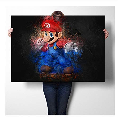 nr Super Mario Spiel Poster Wandkunst Aufkleber Kunstdrucke Leinwand Tuch Poster Und Druck Wandkunst Bild Malerei Wohnkultur-60x90 cm Kein Rahmen