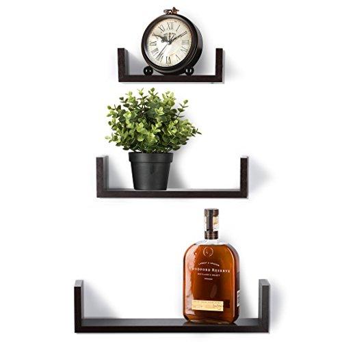 Floating Shelves Set of 3 Wall Shelves - Espresso Finish Wooden Shelves - by Sagler