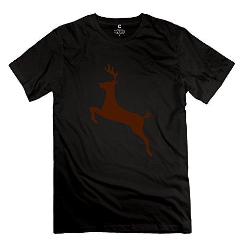 Saltando ciervo o cuello camiseta de hombre de Deepheather gráfico por rahk