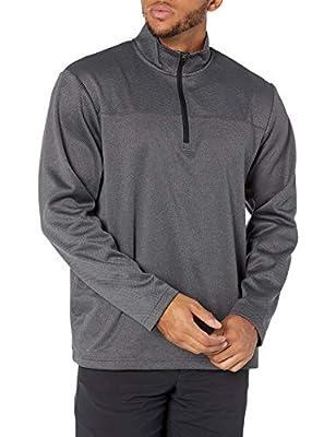 PGA TOUR Men's Long Sleeve Two Tone Half Zip Jacket, Caviar Heather, X Large