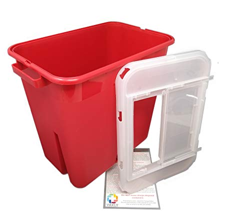 2 Gallon Sharps Container - Large - Plus Vakly Biohazard Disposal Guide (1 Pack)