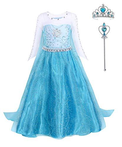 FONLAM Disfraz de Princesa Vestido Largo Fiesta Niña Ceremonia Vestido Infantil Cumpleaños Niña Carnaval (5-6 Años, Turquesa)