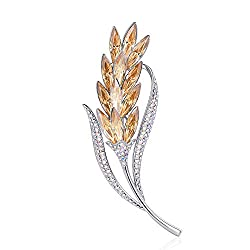 Wheat-Gold Brooch Pins Rhinestone with Swarovski Crystal