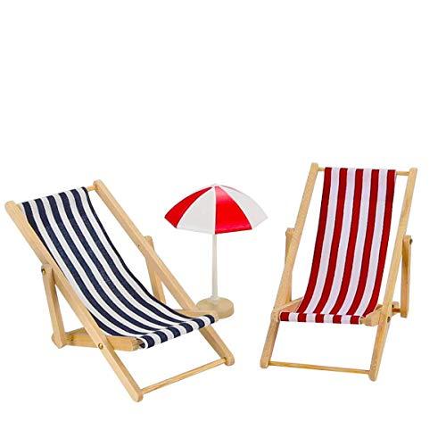 Adkwse 12 STK Strand-Mikrolandschaft Miniliegestuhl Sonnenschirm Palme Deko - 7