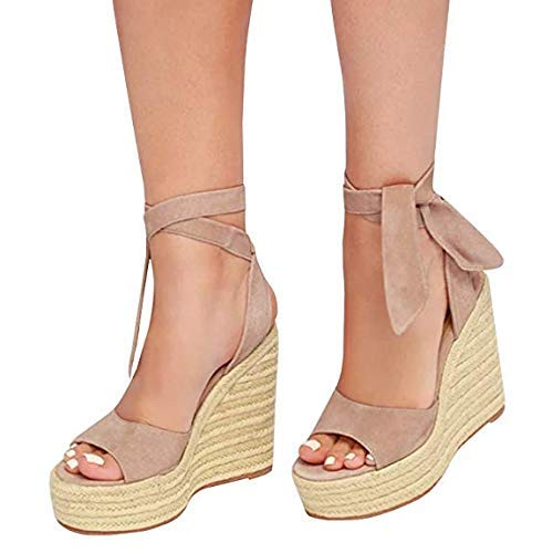 Sandalias Plataforma Tacones Altos Para Mujer Zapatos De Paja Sandalias Romanas De Cáñamo Sandalias Mujer Verano Pescado Boca Zapatillas Peep-toe Con Cordones Sandalias De Playa Wyxhkj