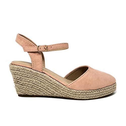 TOP Moda Wishing-5 Women's Closed Toe Buckle Strap Espedrilles Sandals (8 M US, Blush)