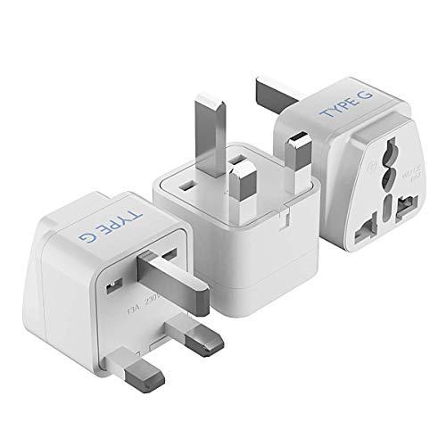 Ceptics UK  Hong Kong  Ireland  UAE Travel Plug Adapter (Type G) - 3 Pack [Grounded & Universal] (GP-7-3PK)