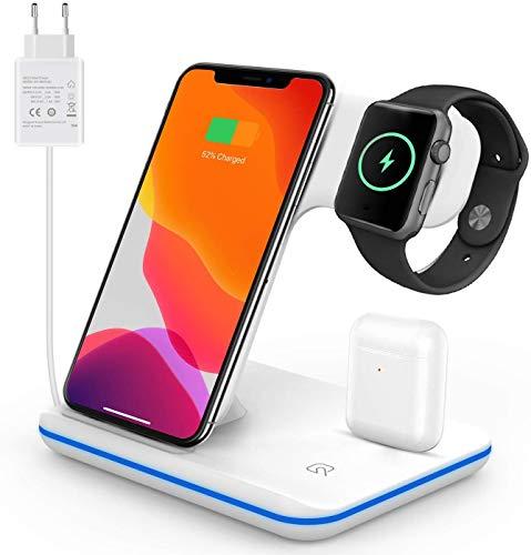 Caricatore wireless rapido 3 in 1 stazione di ricarica rapida Qi wireless per iPhone 11/11 Pro MAX/XS MAX / 8 Smart Watch Series 1/2/3/4/5 Airpods 2 (White)