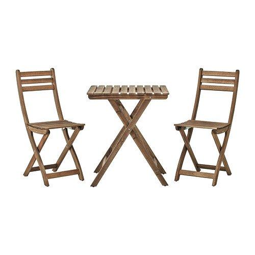 IKEA Askholmen - Tisch + 2 Stühle, Outdoor, grau, braun gefärbt - 60x60 cm