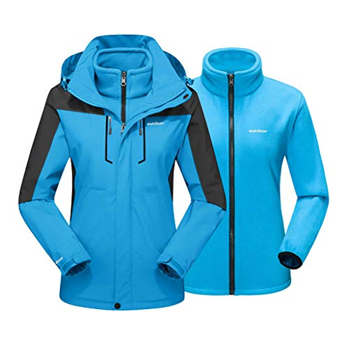 EKLENTSON Damen Winterjacke 3in1 Daumenschlaufen Warme Jacke Übergangsjacke Leichte Treckking mit Kapuze Blau für Damen, M