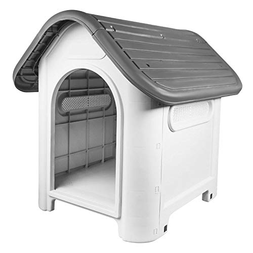 Mighty Plastic Dog Cat Kennel House Weatherproof For Indoor And Outdoor Pet Shelter Blue + Grey (Grey)