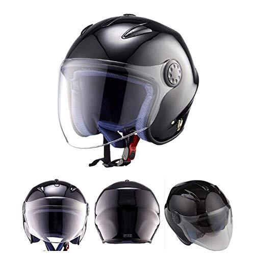 Motorcycle Helmet Scooter Half Overdekt Valhelm Carbon Fiber Half Helm herenfiets Double Lens Open Helm Four Seasons Universal Ingebouwde Zonnebril Verwisselbare wasbare binnenvoering, E, M 8bayfa