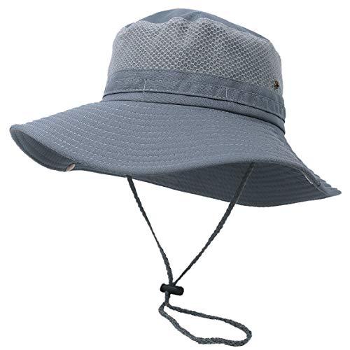 Hombres Mujeres ala Ancha Sombrero de Verano Gorros de Pescador Ligero Plegable Pescar Gorra de Sol (Malla Gris)