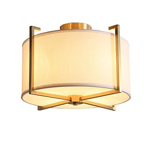 MLZWS Lámparas Colgantes Lámparas De Techo Lámpara De Techo Redonda De Cobre Dorado Lámpara De Estudio De Tela Europea