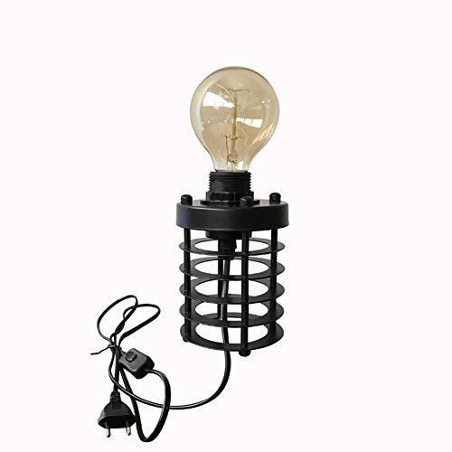 LHE Lámpara Escritorio E27, Lámpara de Mesa Creativa de Personalidad 2 con Lámpara Artística, Interruptor de Llavero, Pintura Negra, Lámpara de Arte de Hierro para Cafetería y Bar.