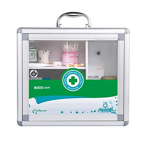 ZCG Caja de primeros auxilios portátil para la familia con puerta de cristal transparente para medicamentos de emergencia para emergencias en casa, escuela, oficina y al aire libre (tamaño mediano)
