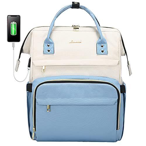 LOVEVOOK - Zaino da donna vintage, con scomparto per computer portatile da 15,6 pollici, elegante, con porta USB di ricarica, per scuola, università, viaggi e regali, colore beige e azzurro