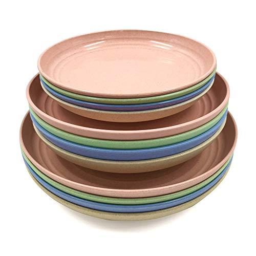 Teller aus Weizenstroh, unzerbrechlich, leicht, mikrowellengeeignet, perfekt für Salat, Nudeln, Obst, Steak (17 cm, 20 cm, 22 cm)
