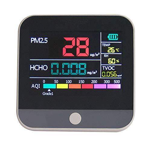KKTECT Luftqualitätsmonitor Detekt HCHO PM2.5 PM1.0 PM10 TEMP AQI Tester Thermo Hygrometer Formaldehyde messgerät Feuchtigkeit Temperatur Luftfeuchtigkeitsmesser Tester Bunter LCD-Bildschirm