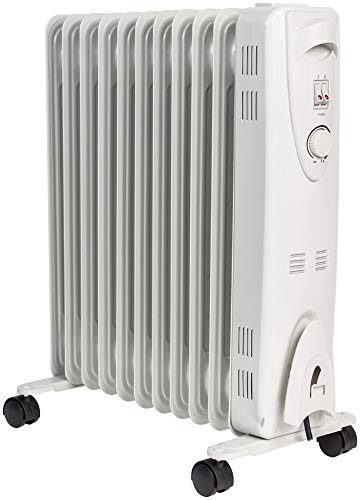 MYLEK Oil Filled Radiator with Adjustable Thermostat - 3 Heat Settings - Electric Portable Heater 11 Fin - Energy Efficient - 2500W / 2.5kW - Safety Tip Over Protection & Safety Cut Off