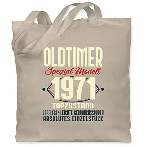 Shirtracer Geburtstagsgeschenk Geburtstag - Oldtimer Spezial Modell 1971-50. Geburtstag - dunkel - Unisize - Naturweiß - WM101 - WM101 - Stoffbeutel aus Baumwolle Jutebeutel lange Henkel