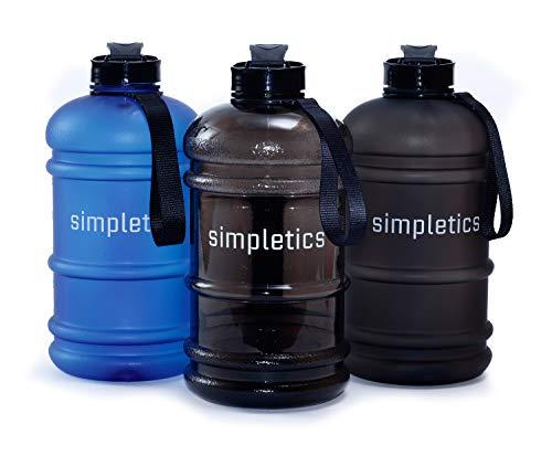 simpletics Trinkflasche 2,2l SPÜLMASCHINENFEST - Die Wasserflasche für Sport, Camping und Bodybuilding - BPA-frei, stabil und auslaufsicher (schwarz)