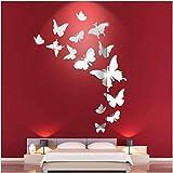 Binjor 42 piezas Mariposas Espejos Pegatinas Adhesivo de Pared Tridimensional de acrílico Vinilos Decorativos Autoadhesivo Retirable Ambiental de Pegatinas de Pared pare Dormitorio Hogar Decoración