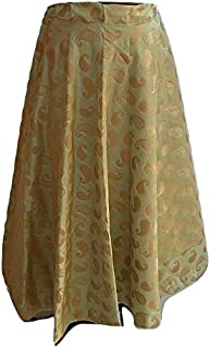 SNEH Women's Chanderi Brocade Skirt (Pistachio Green,Free Size)