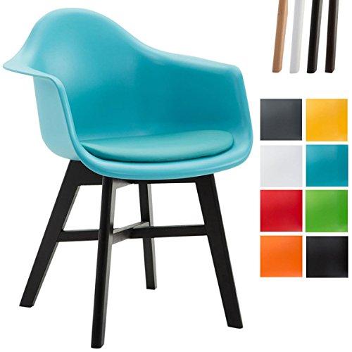 CLP Sedia Design Scandinavo Calgary in Polipropilene - Poltrona Soggiorno con Seduta Imbottita in Similpelle, Telaio in Legno di Faggio I Sedia Pranzo con Braccioli Blu Colore Base: Nero