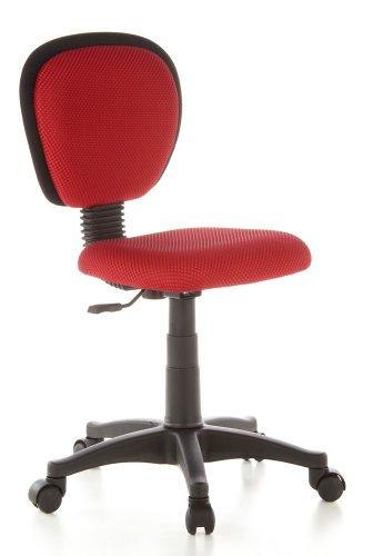 hjh OFFICE 670110 Kinderdrehstuhl KIDDY TOP Netzstoff Rot Kinderbürostuhl mit Rückenlehne, höhenverstellbar