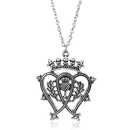 Dongsheng Moda Escocia Flor Nacional Cardo Corona Collar Moda Doble Corazón Colgante Outlander Personalidad Declaración Joyería Joyería