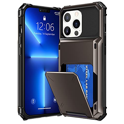 VEGO Compatible with iPhone 13 Pro Max 6.7 Wallet Case with Credit Card Holder Slot Hidden Flip Pocket Hybrid Hard Shell Back Protective Cover for iPhone 13 Pro Max 6.7 inch 2021, Gun Metal